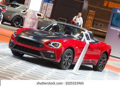 CHICAGO - February 9: A Fiat Abarth convertible on display at the Chicago Auto Show media preview February 9, 2018 in Chicago, Illinois.