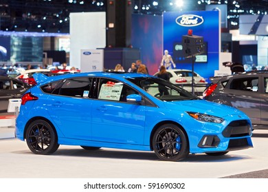 CHICAGO - February 9: A Ford Focus RS on display at the Chicago Auto Show media preview February 9, 2017 in Chicago, Illinois.