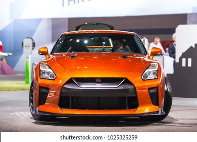 CHICAGO - February 9: Front view of the Nissan GTR at the Chicago Auto Show media preview February 9, 2018 in Chicago, Illinois.