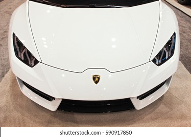 CHICAGO - February 9: Front view of a Lamborghini Huracan at the Chicago Auto Show media preview February 9, 2017 in Chicago, Illinois.