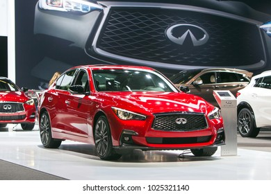 CHICAGO - February 9: The Inifinit Q50s on display at the Chicago Auto Show media preview February 8, 2018 in Chicago, Illinois.