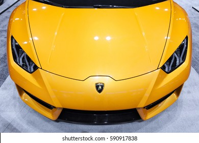 CHICAGO - February 9: A Lamborghini Aventador on display at the Chicago Auto Show media preview February 9, 2017 in Chicago, Illinois.