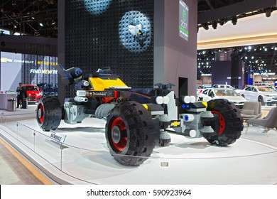 CHICAGO - February 9: The Lego Batmobile from the Lego Batman movie on display at the Chicago Auto Show media preview February 9, 2017 in Chicago, Illinois.