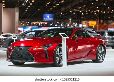 CHICAGO - February 9: A Lexus LC500 sports car on display at the Chicago Auto Show media preview February 9, 2018 in Chicago, Illinois.