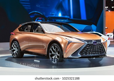 CHICAGO - February 9: The Lexus LF-1 Limitless concept on display at the Chicago Auto Show media preview February 9, 2018 in Chicago, Illinois.