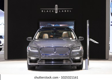 CHICAGO - February 9: The Lincoln Black Label Continental on display at the Chicago Auto Show media preview February 9, 2018 in Chicago, Illinois.