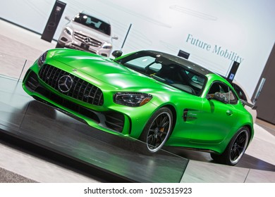 CHICAGO - February 9: A Mercedes Benz sports car on display at the Chicago Auto Show media preview February 9, 2018 in Chicago, Illinois.