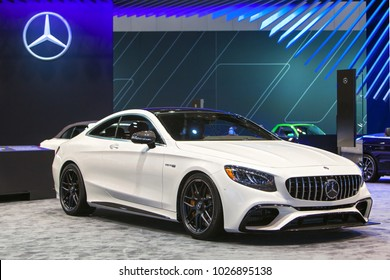 CHICAGO - February 9: The Mercedes Benz AMG E-Class Coupe on display at the Chicago Auto Show media preview February 9, 2018 in Chicago, Illinois.