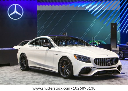 CHICAGO   February 9: The Mercedes Benz AMG E Class Coupe On Display At