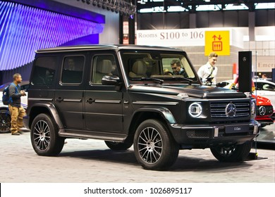CHICAGO - February 9: The new Mercedes Benz G-Class Wagon on display at the Chicago Auto Show media preview February 9, 2018 in Chicago, Illinois.
