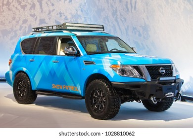 CHICAGO - February 9: The Nissan Armada Snow Patrol concept on display at the Chicago Auto Show media preview February 9, 2018 in Chicago, Illinois.