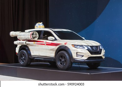 CHICAGO - February 9: The Nissan Star Wars Rogue One SUV on display at the Chicago Auto Show media preview February 9, 2017 in Chicago, Illinois.