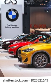 CHICAGO - February 9: A row of BMW�s on display at the Chicago Auto Show media preview February 9, 2018 in Chicago, Illinois.