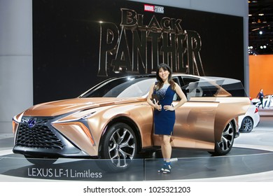 CHICAGO - February 9: A spokesmodel poses with the Lexus LF-1 Limitless concept at the Chicago Auto Show media preview February 9, 2018 in Chicago, Illinois.