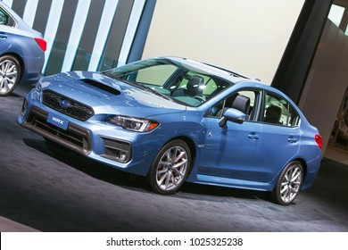 CHICAGO - February 9: The Subaru WRX on display at the Chicago Auto Show media preview February 9, 2018 in Chicago, Illinois.
