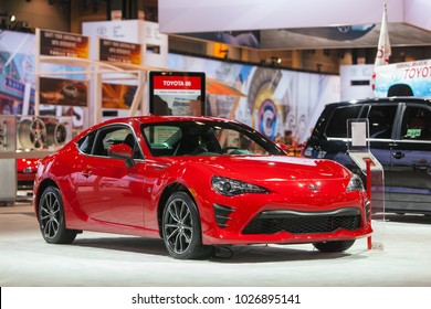 CHICAGO - February 9: The Toyota 86 sports sedan on display at the Chicago Auto Show media preview February 9, 2018 in Chicago, Illinois.