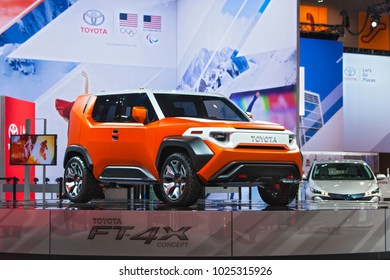 CHICAGO - February 9: The Toyota FT-4X concept on display at the Chicago Auto Show media preview February 9, 2018 in Chicago, Illinois.