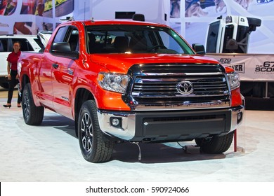 CHICAGO - February 9: A Toyota Tundra pickup truck on display at the Chicago Auto Show media preview February 9, 2017 in Chicago, Illinois.