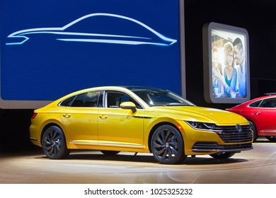 CHICAGO - February 9: The Volkswagen Arteon on display at the Chicago Auto Show media preview February 9, 2018 in Chicago, Illinois.