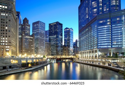 Chicago financial district along the river