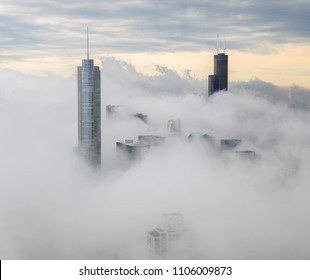 Chicago fog skyline buildings cloud