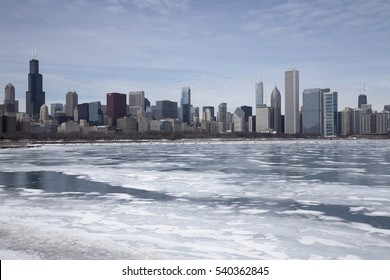 chicago and frozen lake michigan