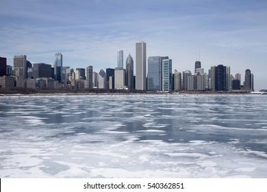 chicago and frozen lake michigan