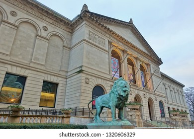 CHICAGO, IL -10 JAN 2019- View of the Art Institute of Chicago (AIC), located off of Michigan Avenue (Magnificent Mile), the second largest art museum in the United States.