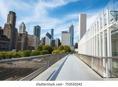 Chicago, IL - 10 May 2017: Downtown Chicago cityscape of Millenium park. Panoramic view of Millenium park in Chicago, USA