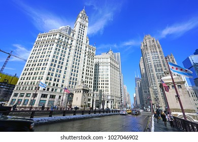 CHICAGO, IL -12 FEB 2018- View of the landmark Wrigley Building, a historic skyscraper building located on Michigan Avenue next to the Chicago River in downtown Chicago.