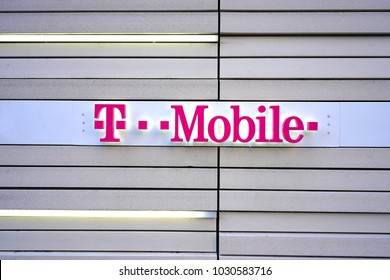 CHICAGO, IL -12 FEB 2018- View of the logo of T Mobile outside a store. T-Mobile is a telecommunications company.