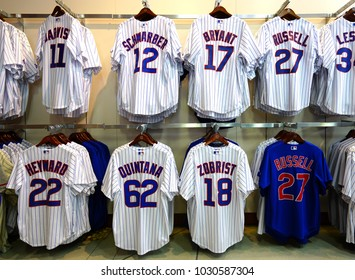 0cbac66a CHICAGO, IL -12 FEB 2018- Team store selling Chicago Cubs merchandise  inside on