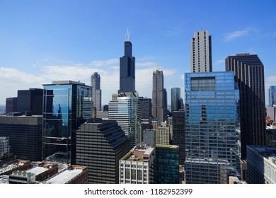 CHICAGO, IL -12 SEP 2018- View of the Willis Tower (formerly called Sears Tower), the tallest building in Chicago. The largest tenant is the headquarters of United Airlines.