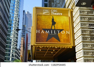 CHICAGO, IL -12 SEP 2018- View of the CIBC Theatre in Chicago playing the musical Hamilton created by Lin Manuel Miranda. It won 11 Tony awards in 2016.