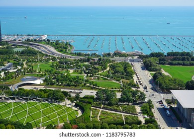 CHICAGO, IL -12 SEP 2018- Aerial view of the Millennium Park and Lake Michigan in downtown Chicago.