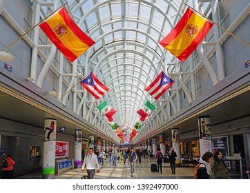 CHICAGO, IL -21 APR 2019- View of the Hall of Flags in Terminal 3 from American Airlines (AA) at Chicago O'Hare International Airport (ORD), a major hub for American and United Airlines.