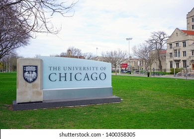 CHICAGO, IL -22 APR 2019- View of the Gothic campus of the University of Chicago, located in the Hyde Park neighborhood of Chicago, Illinois.