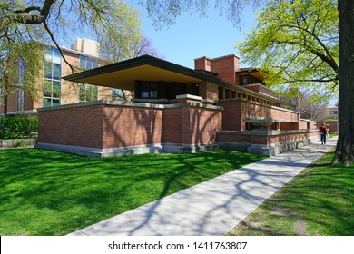 CHICAGO, IL -22 APR 2019- View of the landmark Frederick C. Robie House, designed by American architect Frank Lloyd Wright, located on the campus of the University of Chicago.