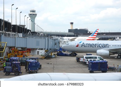 CHICAGO, IL -22 JUN 2017- Airplanes from American Airlines (AA) at Chicago O'Hare International Airport (ORD), a major hub for American and United Airlines.