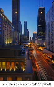 CHICAGO, IL -23 APR 2019- Night view of the landmark 1869 Chicago Water Tower and Michigan Avenue (Magnificent Mile) in Chicago, Illinois.