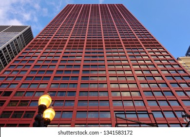 CHICAGO, IL -24 FEB 2019-  View of the CAN Center (the Big Red), a high-rise building located at 333 South Wabash Avenue in the central business district of Chicago, Illinois.