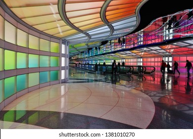 CHICAGO, IL -25 APR 2019- View of the colored electric neon tunnel The Sky Is the Limit at Chicago O'Hare International Airport (ORD) at the United Airlines (UA) terminal.