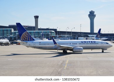 CHICAGO, IL -25 APR 2019- View of an airplane from United Airlines (UA) at the Chicago O'Hare International Airport (ORD).