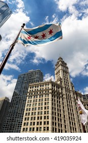 CHICAGO, IL - 25 APRIL: The flag of Chicago and Wrigley Building.