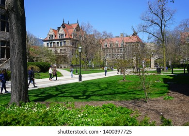 CHICAGO, IL -26 APR 2019- View of the Gothic campus of the University of Chicago, located in the Hyde Park neighborhood of Chicago, Illinois.