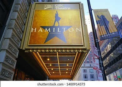 CHICAGO, IL -26 APR 2019- View of the CIBC Theatre in Chicago playing the musical Hamilton created by Lin Manuel Miranda. It won 11 Tony awards in 2016.