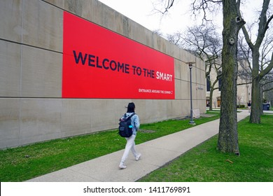 CHICAGO, IL -26 APR 2019- View of the David and Alfred Smart Museum on the campus of the University of Chicago, located in the Hyde Park neighborhood of Chicago, Illinois.