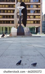 CHICAGO, IL -27 APR 2017- View of the Chicago Picasso, a landmark sculpture by Pablo Picasso on the Daley Plaza in the Loop Neighborhood in Chicago, Illinois.
