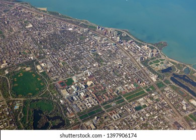 CHICAGO, IL -28 APR 2019- Aerial view of the campus of the University of Chicago and the Hyde Park neighborhood on the South Side of Chicago, Illinois.