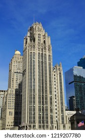 CHICAGO, IL -31 OCT 2018- View of the landmark historic Chicago Tribune building on Michigan Avenue in Chicago, Illinois.
